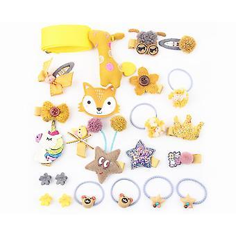 24Pcs Children'S Hair Ornament Set Girl'S Butterfly Tie Cartoon Clip Headdress Set - D Yellow