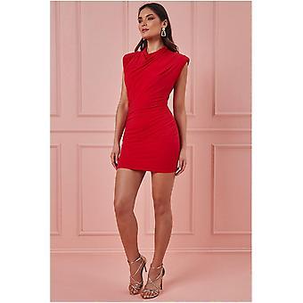 Goddiva High Collar Mini Dress - Red
