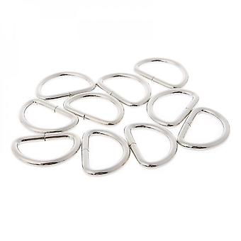 10pcs 32mm Metal Half Round Shaped Non Welded D Ring For Backpacks Straps Bags