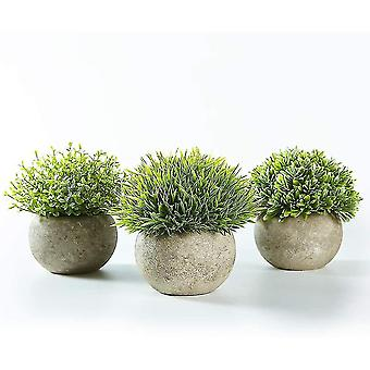 Artificial food 3 sets of indoor artificial plants green gray potted lawn small synthetic decorative plants