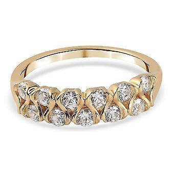 J Francis Half Eternity Ring Swarovski� Zirconia Gold Plated Silver 1.65ct(N)