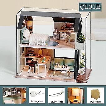 Cutebee Diy Puppenhaus Kit Holzpuppe Häuser Miniatur Puppenhaus Möbel Kit mit LED Spielzeug für
