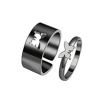 Couple Ring Set Ins Wind Men And Women Personality Butterfly Star Open Index Finger Ring