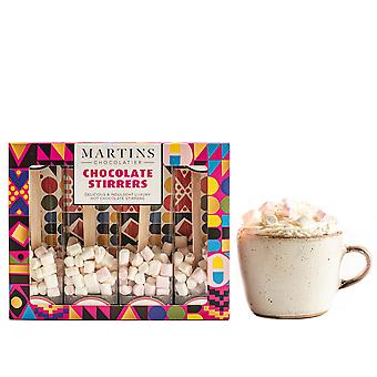 Martin's Chocolatier Hot Chocolate Stirrers (3 Boxes) Strawberry | Hot Chocolate Spoons with Marshmallows | Flavoured Chocolate Drink | Belgian Chocolate Gift Set