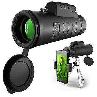 Télescope monoculaire 50x60, monoculaire Hd haute puissance pour adultes avec clip de support de téléphone et trépied