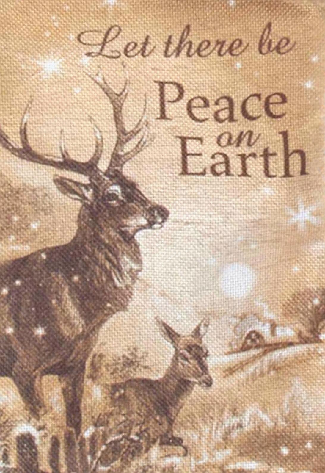 Kurt Adler Santa and Woodland Deer Peace Merry  Holiday Linen Stockings Set of 2