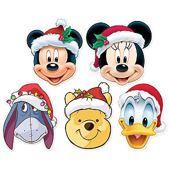 Mickey Mouse et amis Noël Disney 2D Card Party Fancy Dress Masques 5 Pack