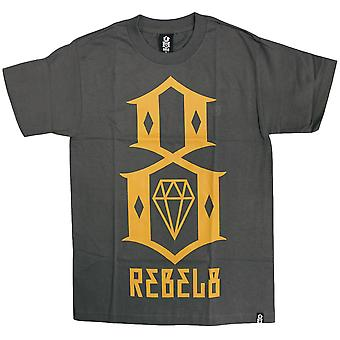 Rebel8 Logo T-shirt Charcoal Yellow