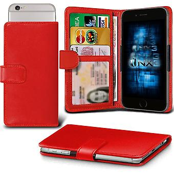 ONX3 Apple iPhone 5se (122.90mm Leaks) Leather Universal Spring Clamp Wallet Case With Card Slot Holder and Banknotes Pocket-Red