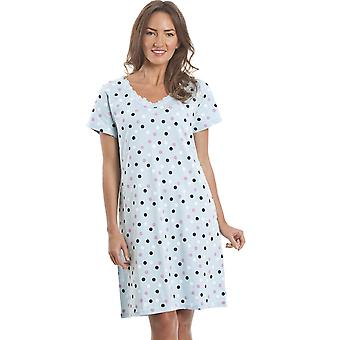 Camille Multi Coloured Polka Dot Light Blue Cotton Nightdress