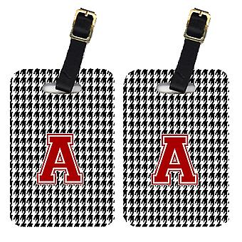 Pair of 2 Monogram - Houndstooth Black Initial A Monogram Initial Luggage Tag