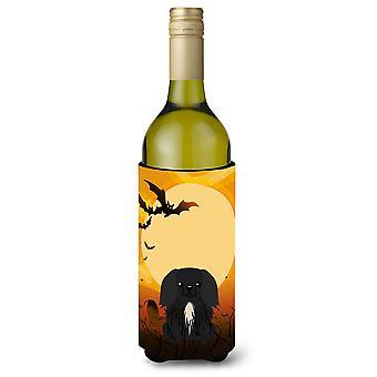 Halloween Pekingnese Black Wine Bottle Beverge Insulator Hugger