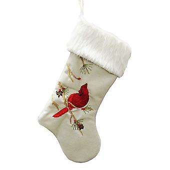 Kurt Adler Red Cardinal på Pine Tree grener juleferie strømpe
