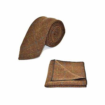 Erfgoed Check Cedar stropdas bruin & zak vierkante Set - Tweed, geruite land Look