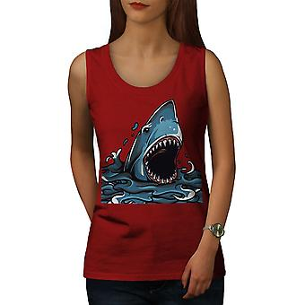 Shark Jaws Scary Animal Women RedTank Top | Wellcoda
