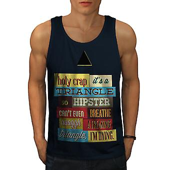 Hippie Triangle Funny Men NavyTank Top | Wellcoda