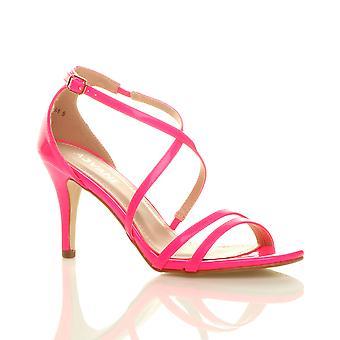 Ajvani kvinners lav høy strappy crossover partiet bryllup prom sandaler kilehæl