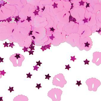 Tischkonfetti Baby Geburt rosa 15g Füße Deko Taufe Konfetti Pinkelparty
