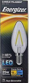1 X Energizer Filament LED Candle Bulb 2.4W = 25W 250Lumen Warm White SES E14 [Energy Class A+]