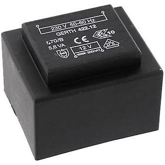 PCB mount transformator 1 x 230 V 2 x 18 V AC 5.60 VA 155 mA PTB423602 Gerth