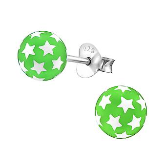 Ball - 925 Sterling Silver + Plastic Colourful Ear Studs - W21978x