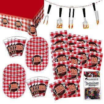 BBQ Meat Party Grillmeister Party Set XL 39-teilig für 8 Gäste Grillparty Deko Partypaket