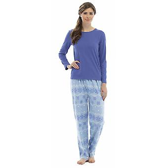 Naiset Foxbury Snowflake Print Winter Long Pyjama Pyjama Sleepwear - Sininen - S-M