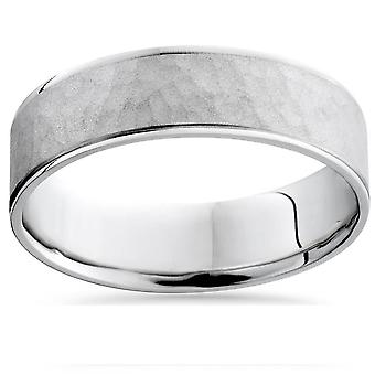 Mens 10k White Gold Hammered Comfort Fit Wedding Band Ring