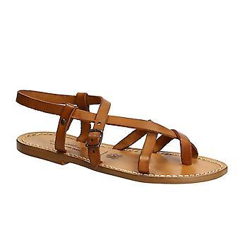 Ręcznie robione we Włoszech niewolnik Damskie sandały w vintage cuir leather