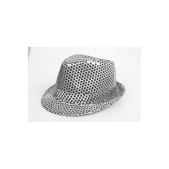 Hüte-Glitzer-Hut-Silber