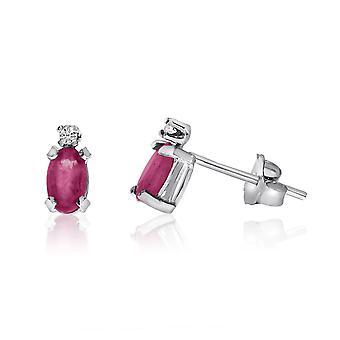 LXR 14K or blanc rubis et boucles d'oreilles en diamant 0.36 ct