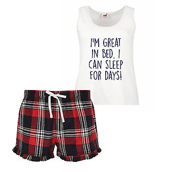 Ich bin großartig im Bett, ich schlafe, tagelang Damen Tartan Rüschen kurze Pyjama Set rot, blau oder grün, blau