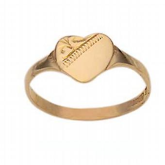 9ct Gold 7x7mm ladies engraved heart shaped Signet Ring Size N