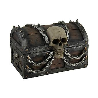 Treasure Chest of Terror Spiked Skull & Chains Pirate's Chest Trinket Box 6 In.