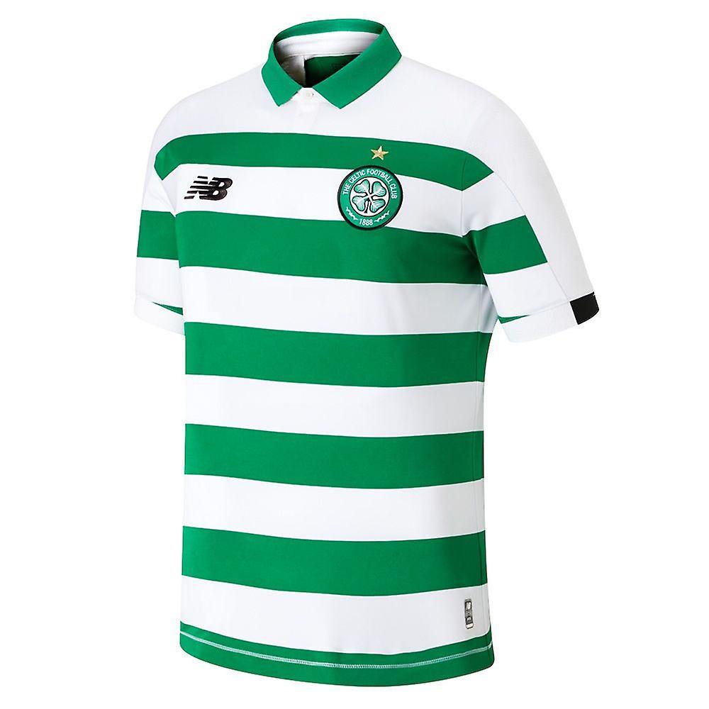 New Balance Celtic FC 2019/20 Kids Home Football Shirt Jersey White/Green