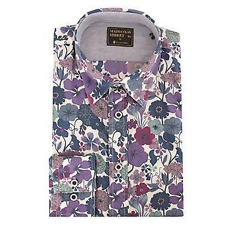 Maddox Street Purple Floral Pattern Long Sleeve Cotton Mens Shirt