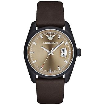 Emporio Armani Ar6081 Sports Round Brown Leather Strap Men's Watch