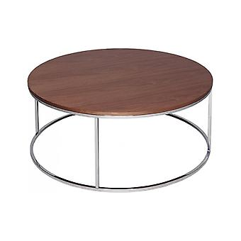 Gillmore Walnut And Silver Metal Contemporary Circular Coffee Table