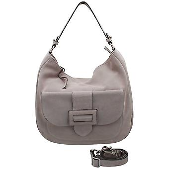 Abro Grey Suede Leather Slouch Handbag