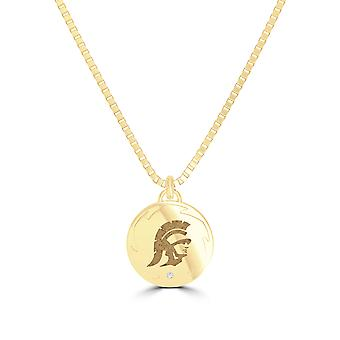 University of Southern California Diamond Pendant Necklace In 14K Yellow Gold Design by BIXLER
