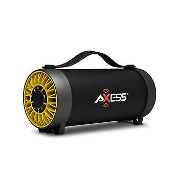 軸内蔵のUSBサポートとFMラジオ付きポータブルブルートゥーススピーカー - 黄色