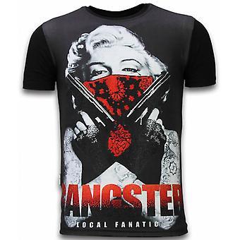 Gangster Marilyn-digital rhinestone T-shirt-sort