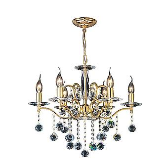 Diyas Zinta Pendant 6 Light French Gold/Crystal