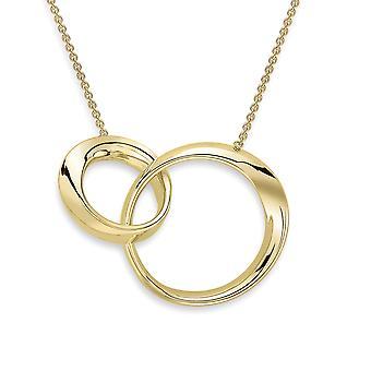 Jewelco Londres 9ct ouro Interlocked torção anéis colar