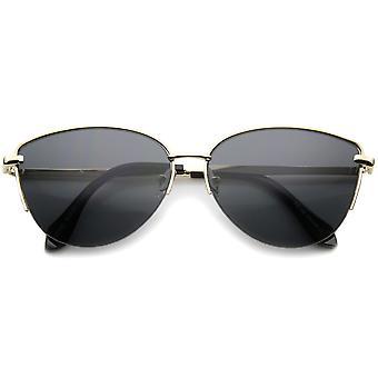 Moderni muoti soikea Semi-rimless metalli lanka runko kissan silmä aurinko lasit 63mm