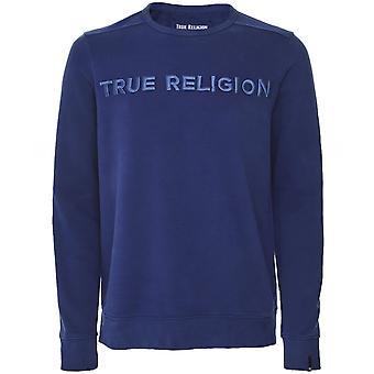 True Religion Crew Neck Embroidered Logo Sweatshirt