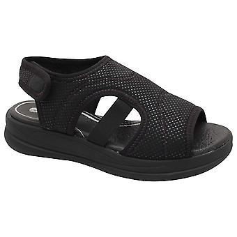 Remonte Black Stretch Panel Open Sandal