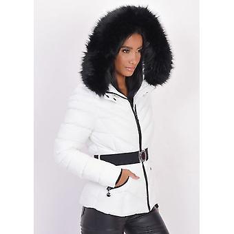Quiltet imiteret pels hætteklædte polstrede puffer frakke hvid