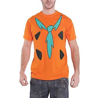 The Flintstones T Shirt Fred Flintstone Costume Allover Official Mens New Orange