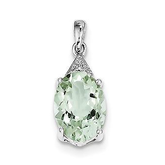 925 zilver gepolijst Prong set open rug Rhodium groene amethist en Diamond Pendant